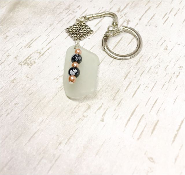 Beach Glass Italy New Scottish Sea Glass Key Ring Celtic Light Green Key Chain Beach