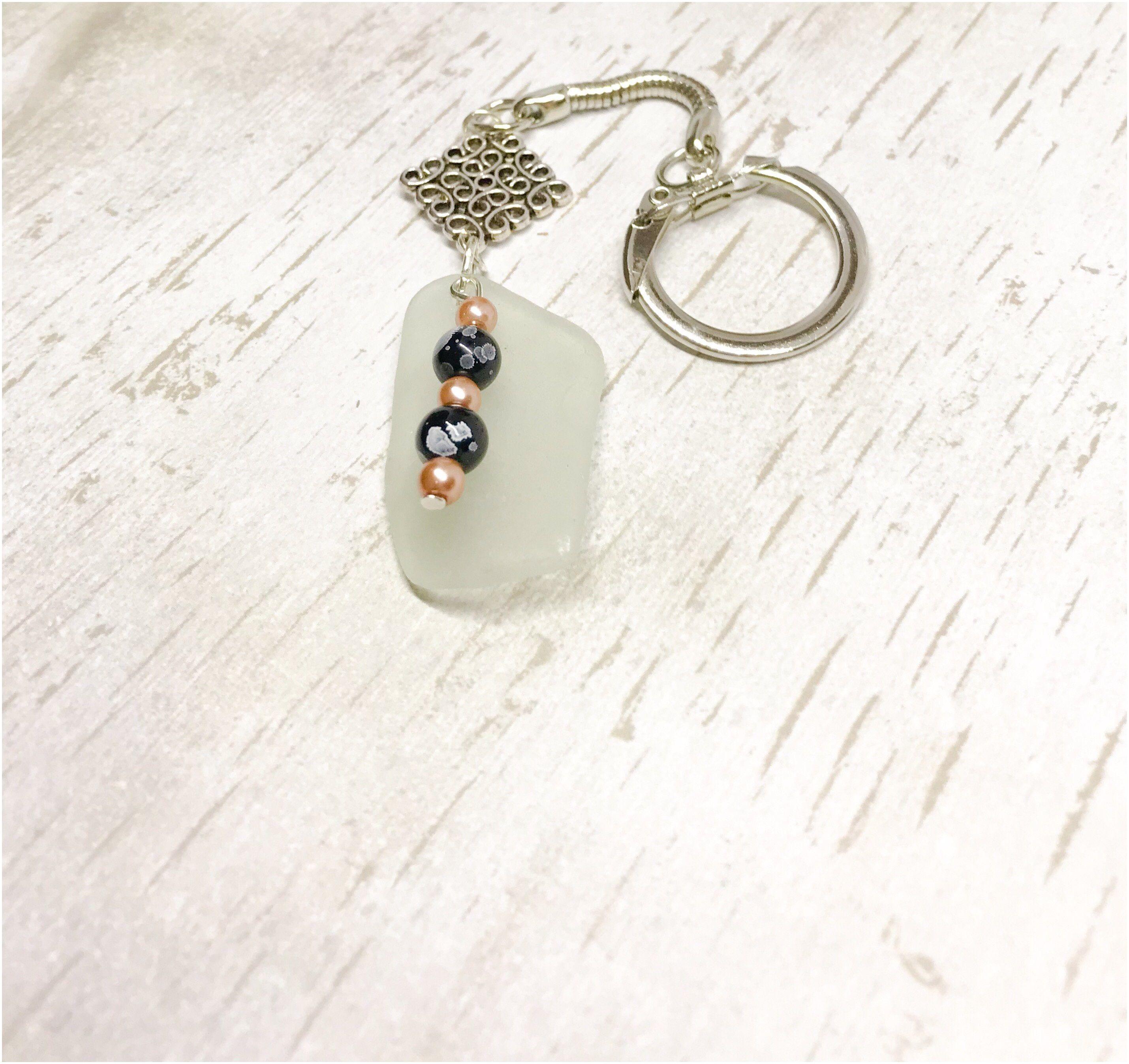 Scottish Sea glass key ring Celtic light green key chain beach glass Celtic silver charm Italian glass bead beach art glass seashore