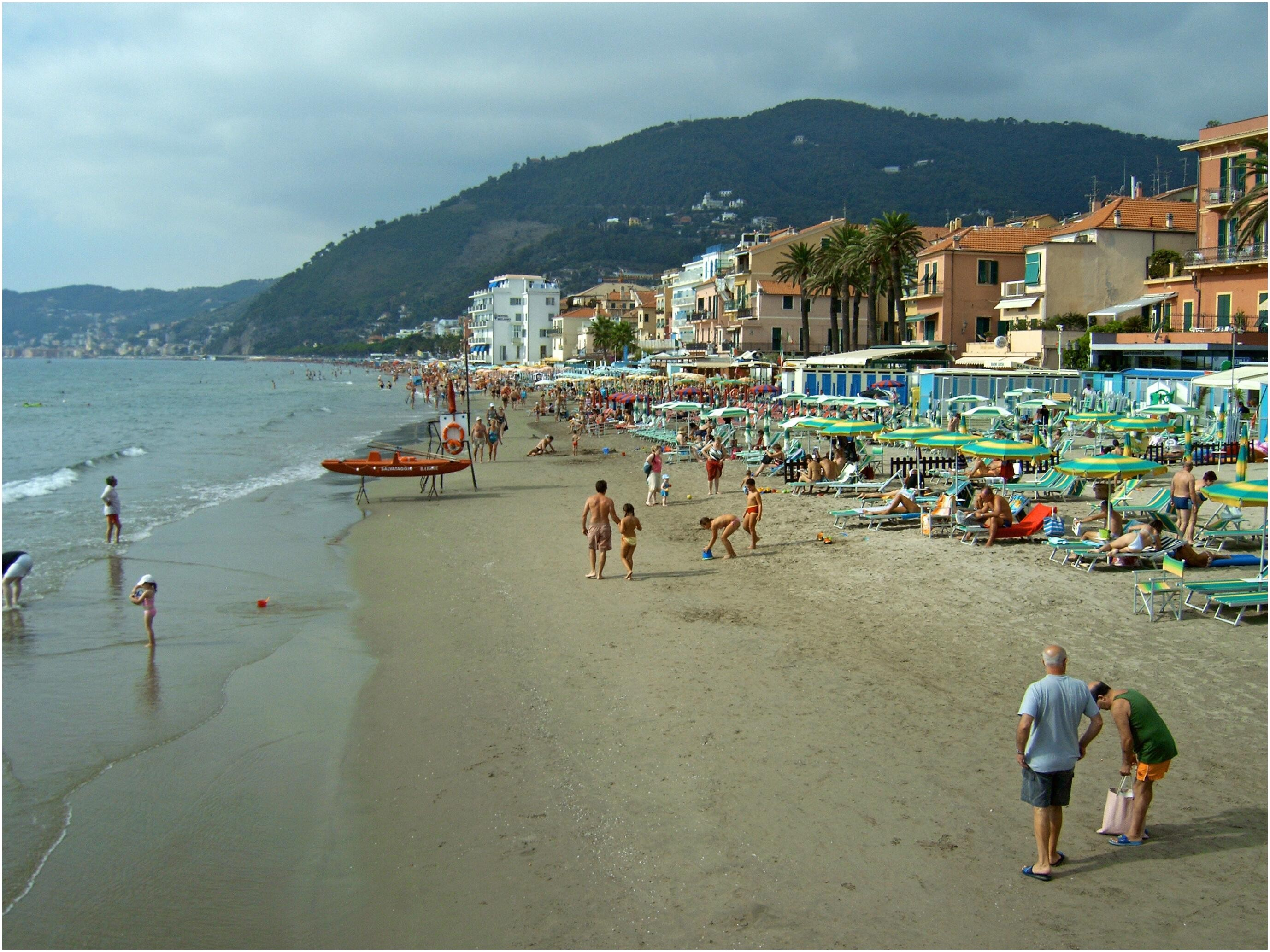 at the beach in the resort of Alassio Italy wallpapers and images