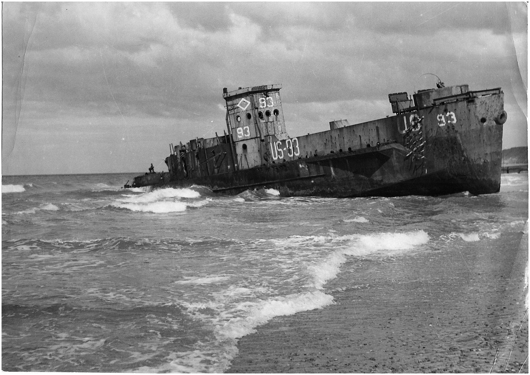 USS LCI L 93 stripped and abandoned on Omaha Beach date unknown
