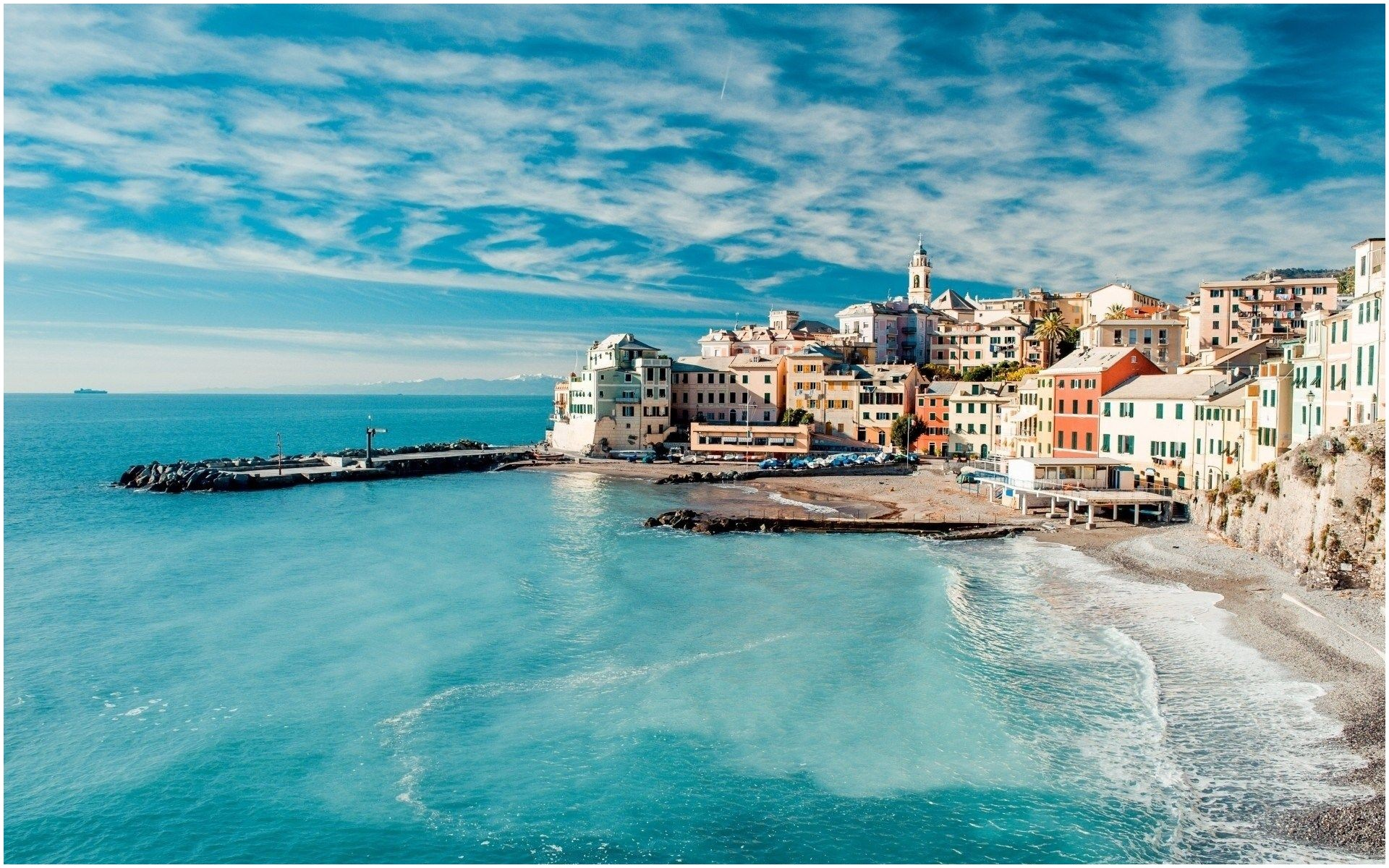 Genoa Italy Beach Resorts Turquoise Water Wide HD Wallpaper