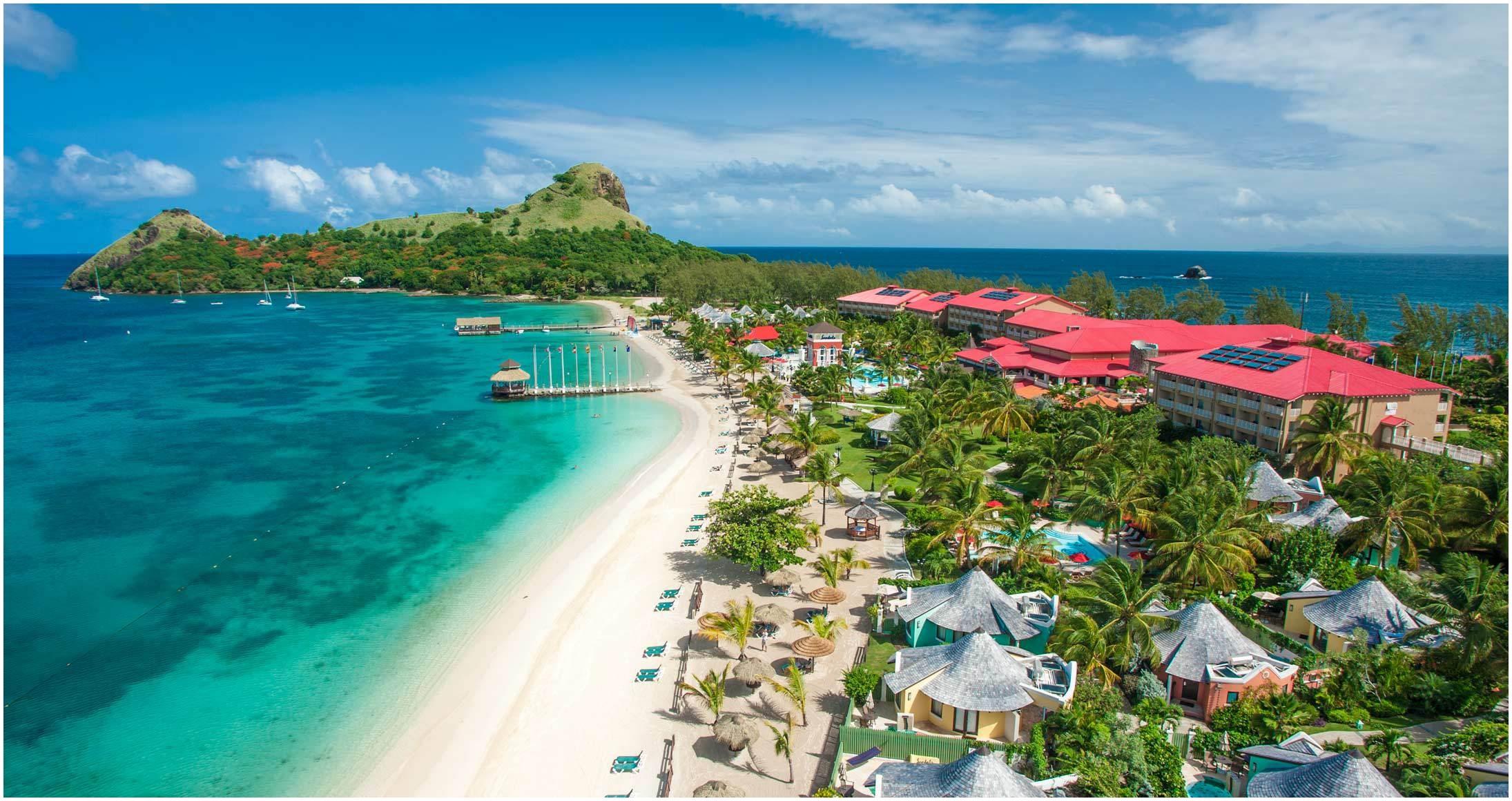 aerial beach ocean mountains resort