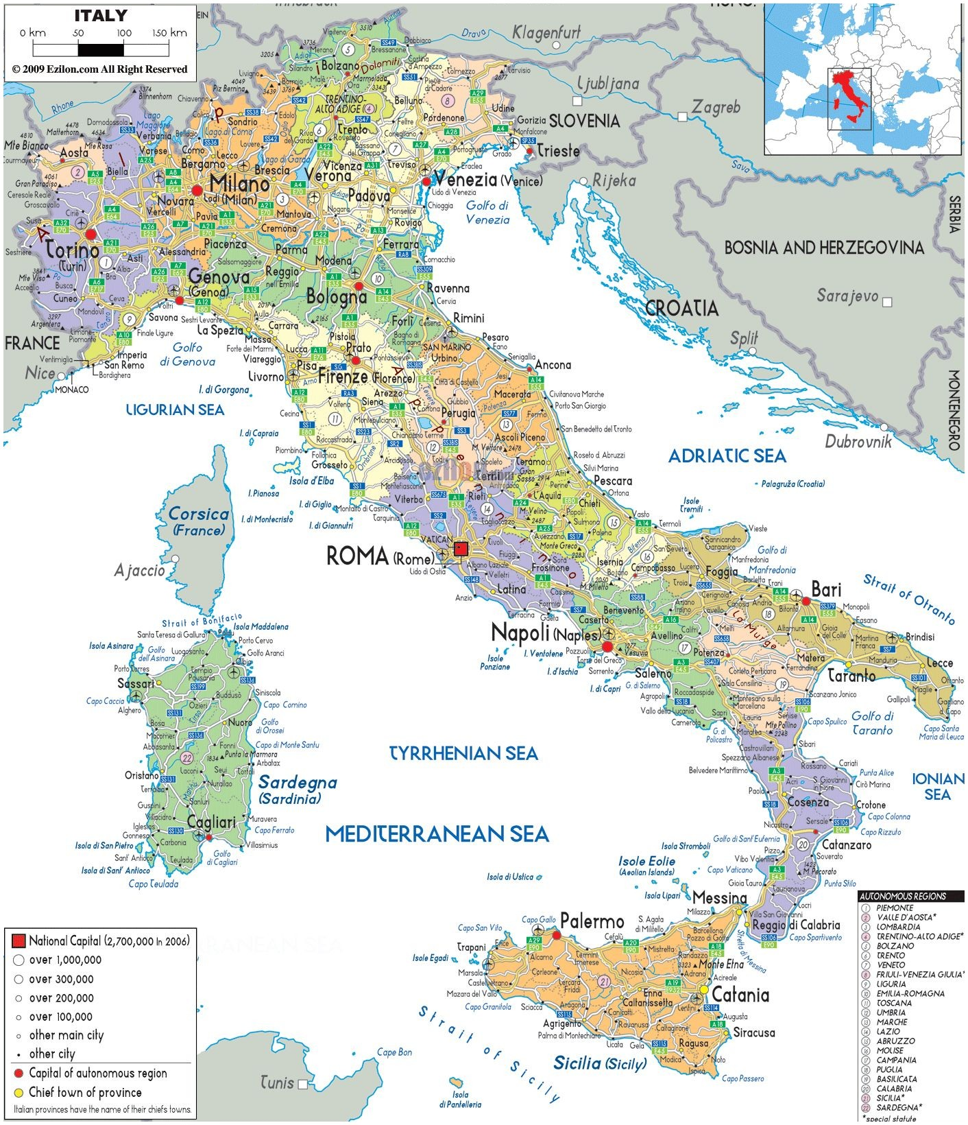 Map Italy With Cities map of Italy with all cities roads and airports Vidiani