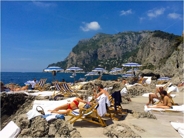 Italian Holidays with Beach Elegant La Fontelina Beach Club Capri Italy